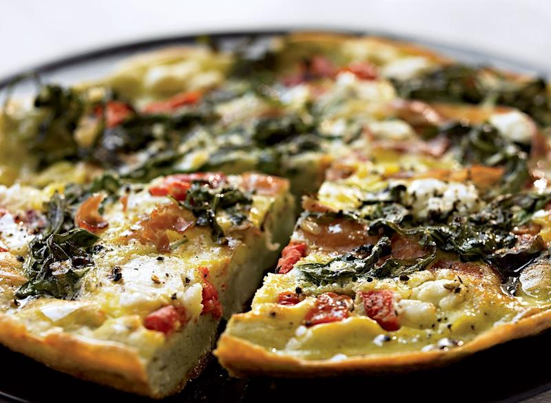 Healthy frittata with arugula pepper