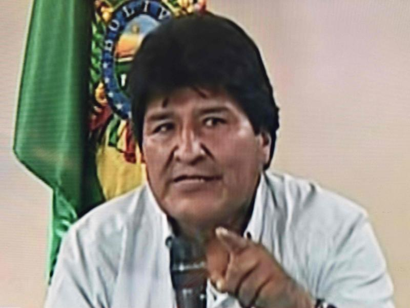 Evo Morales announces his resignation on 10 November 2019 in a televised address from Cochabamba, Bolivia: Bolivia TV/AFP/Getty