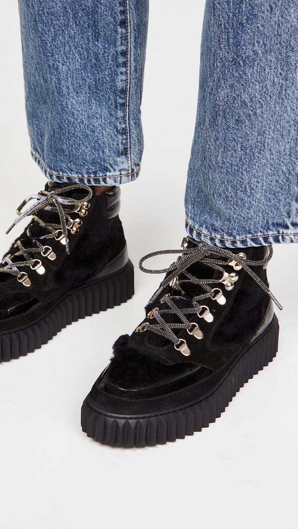 <p>We're loving these cool <span>Voile Blanche Eva Shearling Hiker Boots</span> ($298).</p>