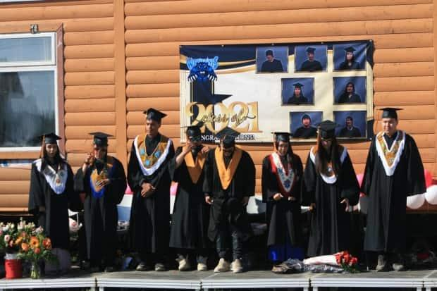 Eight students graduated high school in Colville Lake, N.W.T., in 2021, despite added challenges posed by the COVID-19 pandemic.  (Johanna Rose French/Facebook - image credit)