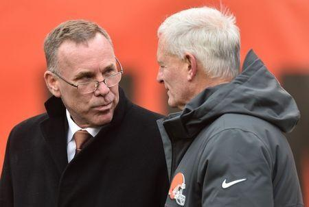 FILE PHOTO: Dec 10, 2017; Cleveland, OH, USA; Cleveland Browns general manager John Dorsey, left, talks with owner Jimmy Haslam before the game between the Cleveland Browns and the Green Bay Packers at FirstEnergy Stadium. Ken Blaze-USA TODAY Sports