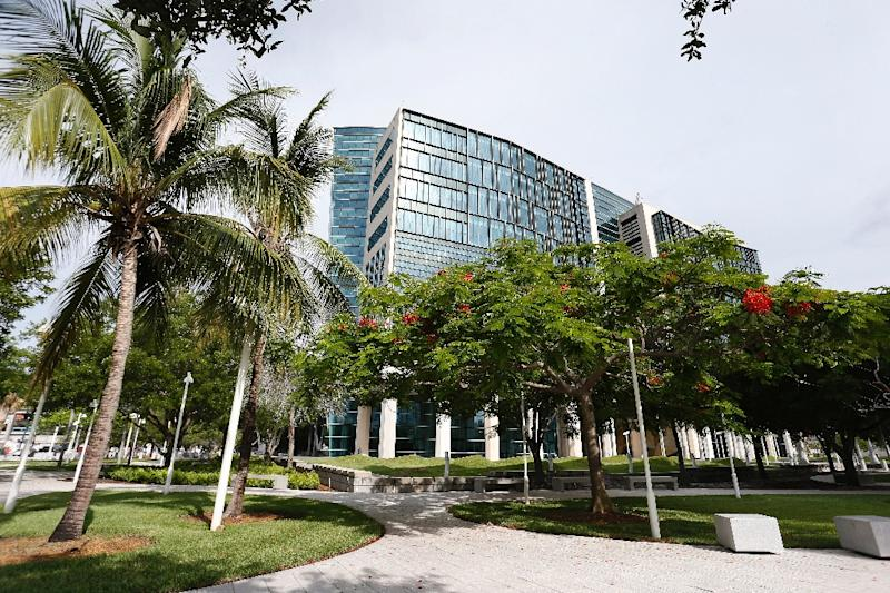 """A view of the US Federal courthouse in Miami, where Frenchman Gal Vallerius, aka """"OxyMonster,"""" pleaded guilty to charges of money laundering and drug trafficking for selling drugs online on the 'dark web'"""