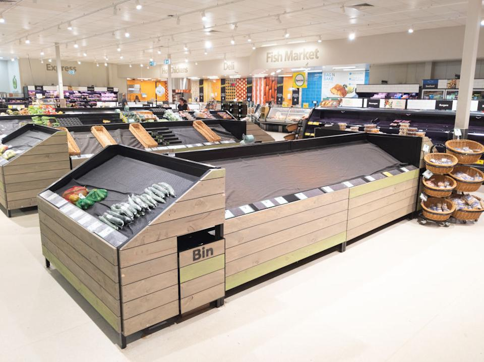Empty fruit and vegetable shelves in an Australian supermarket after panic buying due to the COVID-19 Coronavirus. Source: Getty