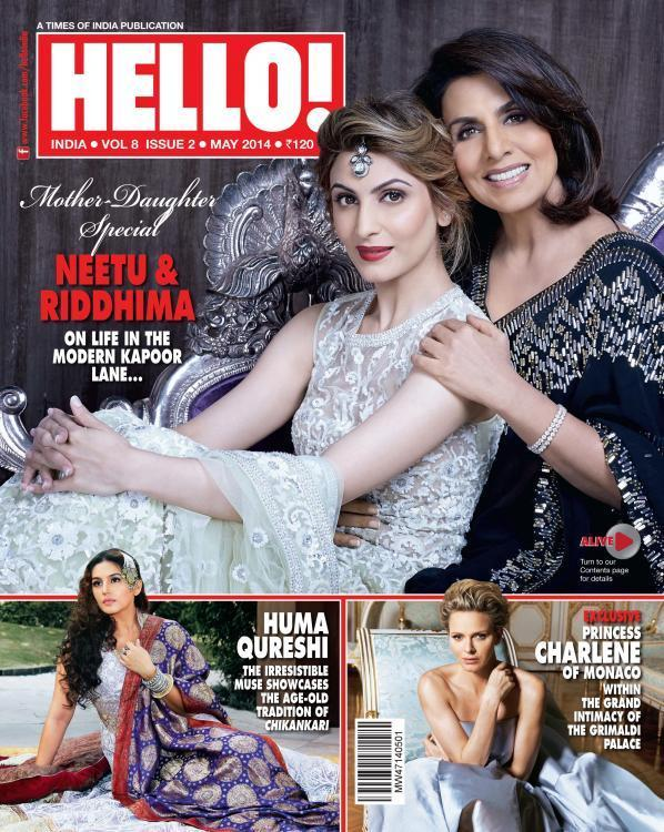 <p>Clad in their designer best, Neetu and her daughter Riddhima posed for the May 2014 edition of Hello Magazine. The cover spelt class as the duo posed for the mommy-daughter special edition. Don't they look regal!</p>