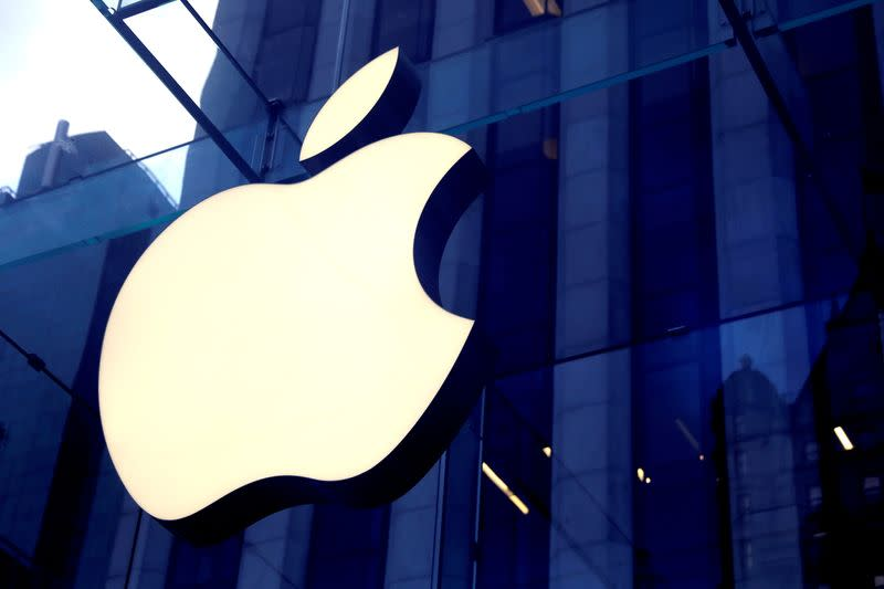 FILE PHOTO: The Apple Inc logo is seen hanging at the entrance to the Apple store on 5th Avenue in New York
