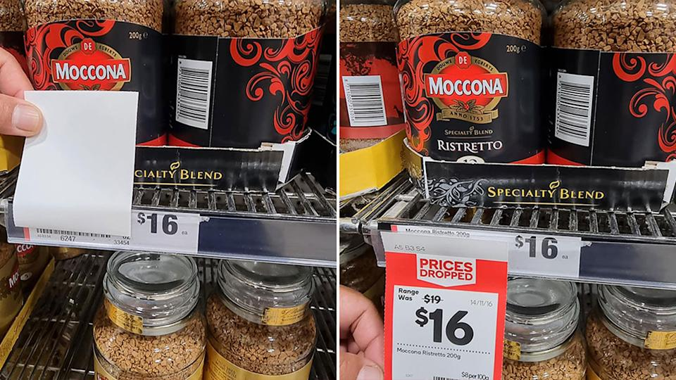 Pictured is the Moccona coffee at Woolworths and the 'Prices Dropped' ticket, explaining it is $16