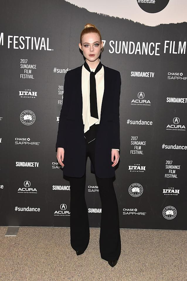<p>The ever-rising actress donned a full suit – but in a looser style perfect for her young age. <i>[Photo: Getty[</i> </p>