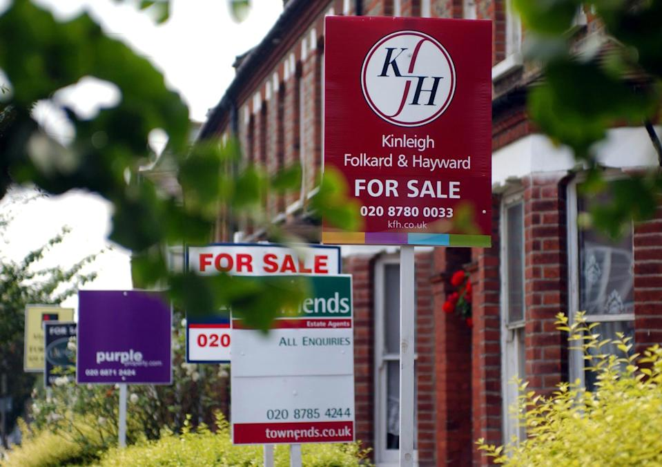 """House for Sale Signs.  28/04/03 : Further evidence of a north-south divide in the housing market emerged as figures showed the first fall in national prices since November 2001. Property website hometrack said the slowdown had been felt the most in the South East, although counties above a line from the River Severn to The Wash still reported healthy rises. Overall, prices in England and Wales fell 0.1% in April, continuing 11 months of steady decline in house price inflation since May s peak of 2.6%. 02/06/03 : Despite two years of soaring prices homes remain affordable across Britain researchers have claimed. Mortgage lender Cheltenham & Gloucester said anyone buying a house now would have to spend an average of 33.4% of their salary on mortgage repayments -   33.40 for every   100 they earned. But the figure is only slightly higher than the   28.60 for every   100 they earnt that would have been taken up by repayments in 1999, before the current boom first started, and well below the   71.30 per   100 they would have spent in 1990.  08/08/03 : House prices increased by almost 13% in England and Wales in the past year, figures showed. The Land Registry s quarterly residential property price report said that prices were 12.52% higher between April and June than they had been during the same period last year.  22/04/2004: More than a third of first-time buyers say they have given up hope of being able to buy their own home for at least a year, research showed Thursday April 22, 2004.  But half of those looking to buy said they would be prepared to buy a property they did not like, in an area they did not want to live in, just to get on to the ladder, according to Yorkshire Bank.  10/06/2004  Consumers who are relying on property to provide them with a retirement income could be left """"high and dry"""" if there is a house price crash, a report warned Thursday June 10, 2004. Market analyst Datamonitor said people were increasingly seeing property as a """"get out of jail fre"""