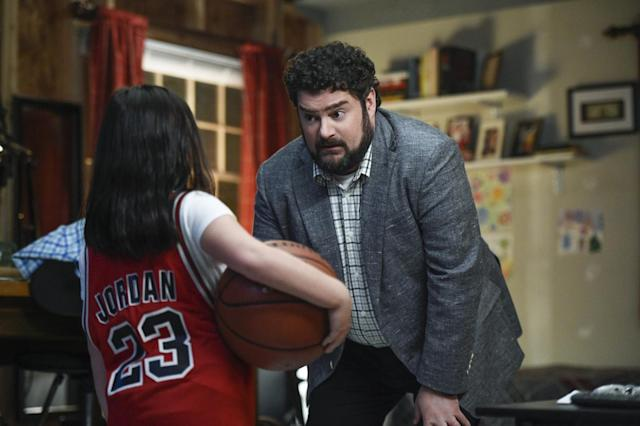 Skylar Gray as Young Abby and Bobby Moynihan as Mid-Life Alex in 'Me, Myself & I' (Photo: Ron P. Jaffe/CBS)