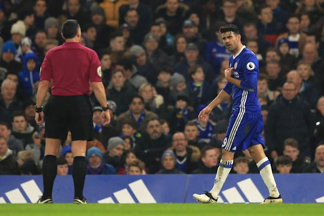 <p>Diego Costa remonstrates with the referee </p>
