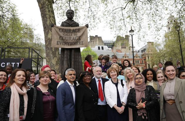 Emily Thornberry with Labour politicians at the unveiling of the Millicent Fawcett statue in Parliament Square