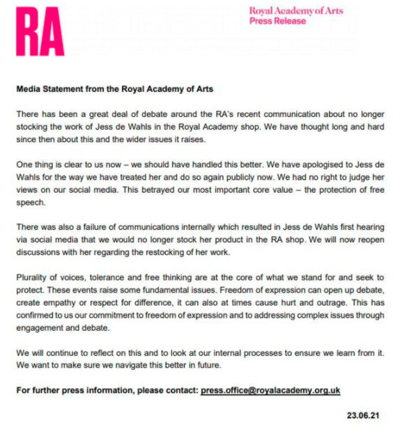 The Royal Academy of Arts released a statement apologising to Jess De Wahls. (Getty)