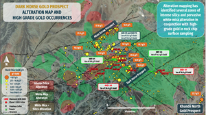 Alteration Map and High Grade Gold Occurrences
