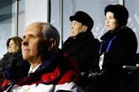 <p>Mike Pence (front) watches the opening ceremony of the Pyeongchang 2018 Winter Olympic Games with North Korea's ceremonial head of state Kim Yong Nam (back 2nd R) and North Korea's Kim Jong Un's sister Kim Yo Jong (back R) at the Pyeongchang Stadium on February 9, 2018. / AFP PHOTO / POOL / Patrick Semansky </p>