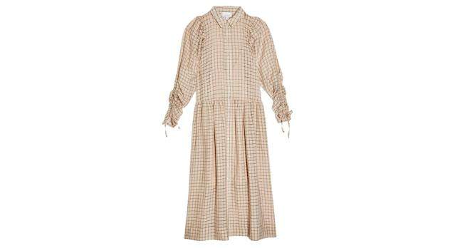 Ecru Check Organza Shirt Dress