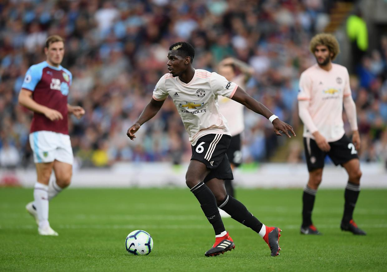Paul Pogba during the Premier League match between Burnley FC and Manchester United at Turf Moor on September 2, 2018 in Burnley, United Kingdom.