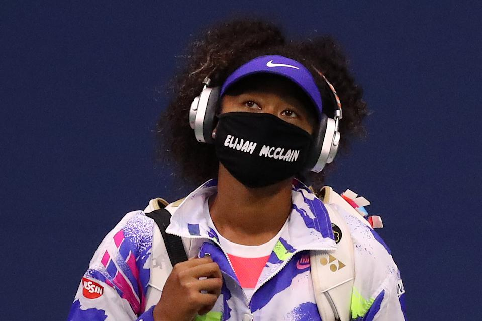Naomi Osaka kept up with her social justice messaging at the US Open on Wednesday. (Photo by Matthew Stockman/Getty Images)