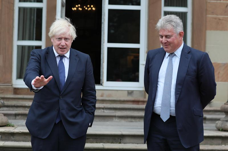(left to right) Prime Minister Boris Johnson and Northern Ireland Secretary of State Brandon Lewis at Hillsborough Castle during the Prime Minister's visit to Belfast.