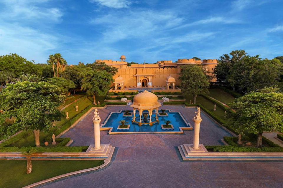Aerial view of a courtyard at the Oberoi Rajvilas, voted one of the best hotels in the world