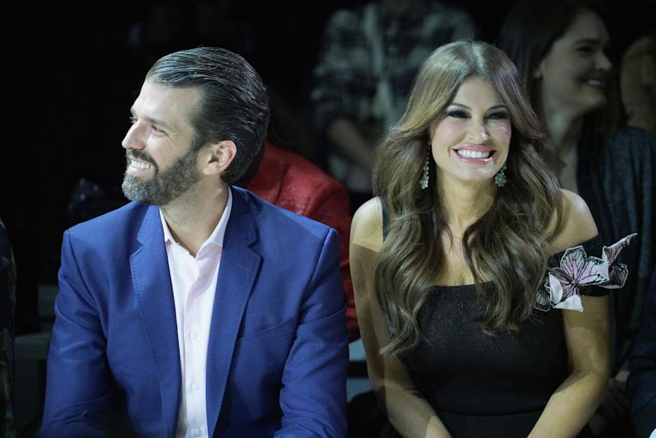 Donald Trump Jr. and Kimberly Guilfoyle were front row at the Zang Toi show. (Photo: Manny Carabel/Getty Images)