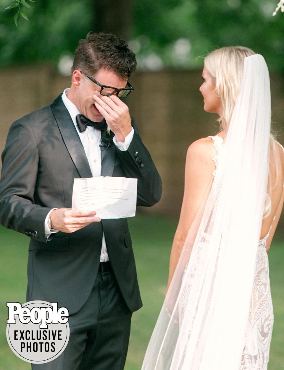 """<p>Bones grew emotional as he and Parker exchanged vows they'd written themselves. """"All the tears flowed in the ceremony,"""" he told PEOPLE on Sunday. """"None left for dancing! It was smooth sailing during the reception.""""</p>"""