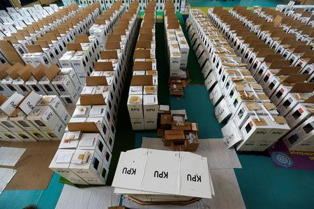 Ballot boxes for the upcoming Indonesia's general election are seen before they are distributed in Jakarta, Indonesia, April 12, 2019. REUTERS/Willy Kurniawan/Files