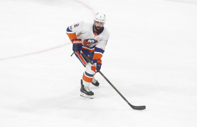 """<a class=""""link rapid-noclick-resp"""" href=""""/nhl/teams/nyi/"""" data-ylk=""""slk:New York Islanders"""">New York Islanders</a>' <a class=""""link rapid-noclick-resp"""" href=""""/nhl/players/4696/"""" data-ylk=""""slk:Nick Leddy"""">Nick Leddy</a> isn't available in all leagues but should have a higher ownership percentage. (AP Photo/Jim Mone)"""