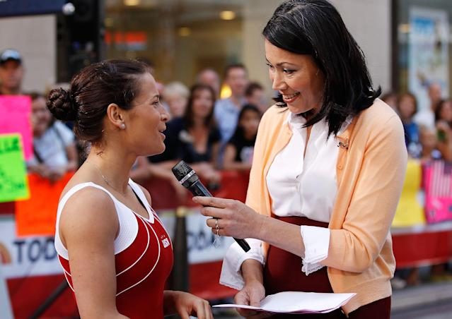 NEW YORK, NY - JULY 27: U.S. Olympic Hopeful Alicia Sacramone is interviewed by TV Host Ann Curry during an appearance on the NBC Today Show on July 27, 2011 in New York City (Photo by Mike Stobe/Getty Images)