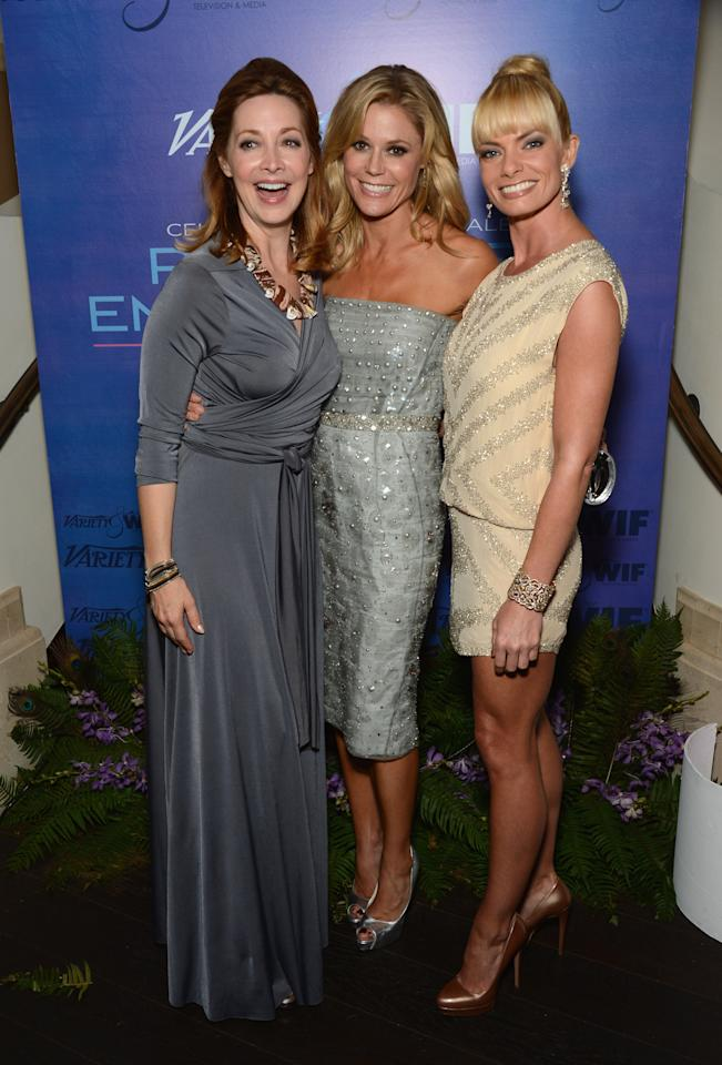 (L-R) Actress Sharon Lawrence, Actress Julie Bowen and Actress Jaime Pressly attend Variety and Women in Film Pre-EMMY Event presented by Saint Vintage at Montage Beverly Hills on September 21, 2012 in Beverly Hills, California.  (Photo by Amanda Edwards/WireImage)