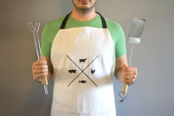 "<p>If Dad's the ultimate grillmaster, he'll appreciate this apron to help keep his favorite shirt safe. You'll need a flour sack towel, some fabric paint, and some basic sewing skills. </p><p><em>Get the tutorial at <a href=""https://lovelyindeed.com/diy-fathers-day-gift-apron/"" rel=""nofollow noopener"" target=""_blank"" data-ylk=""slk:Lovely Indeed"" class=""link rapid-noclick-resp"">Lovely Indeed</a>. </em></p>"