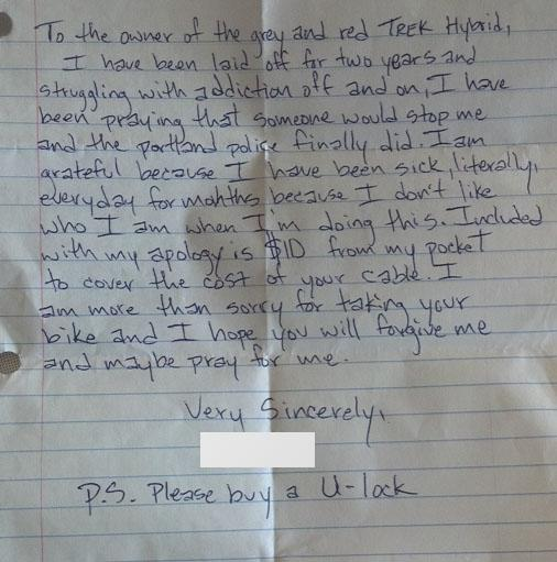 Bike Thief Leaves Handwritten Apology Note Plus 10 for New Lock