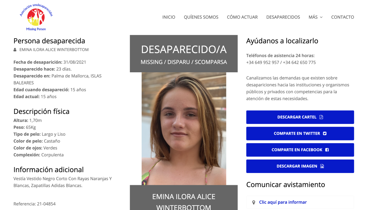 The website SOS Disappeared shared an appeal for information on the missing teen. (Asociación Sosdesaparecidos)