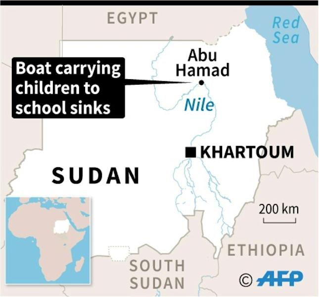 Map locating the sinking of a boat 750 km north of Sudan's capital Khartoum Wednesday in which 22 school children drowned