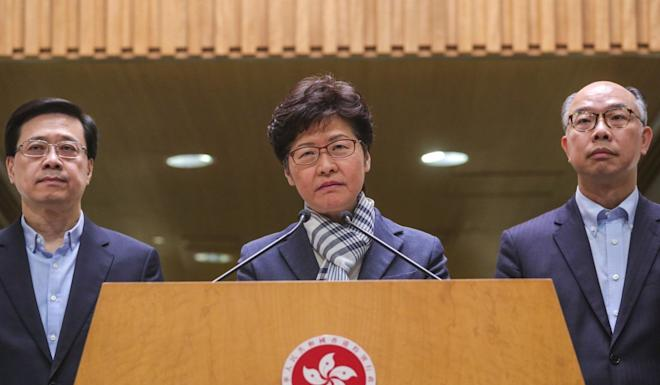 Carrie Lam urged everyone to condemn the destructive behaviour of protesters. Photo: May Tse