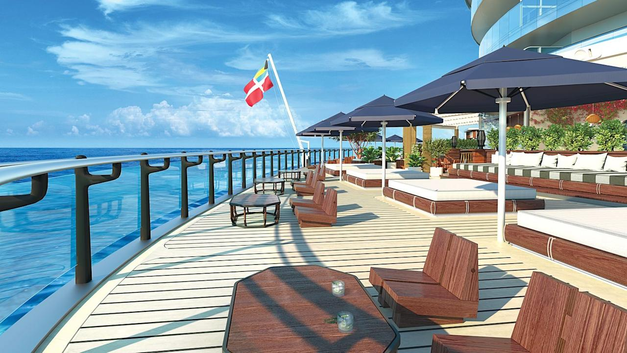"<p>The outdoor lounge is <a href=""http://www.traveller.com.au/richard-bransons-virgin-voyages-unveils-designs-for-first-cruise-ship-h10z0k"" target=""_blank"">meant to resemble</a> the lounges you'd see in the Hamptons, Ibiza, and Bali.</p>"