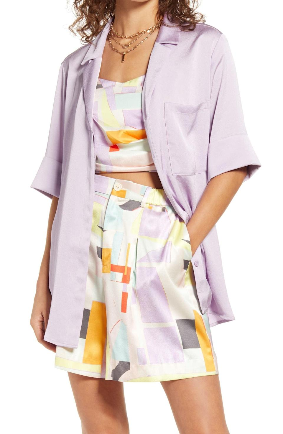 <p>This <span>Open Edit Satin Camp Shirt</span> ($49) will look good with just about anything.</p>