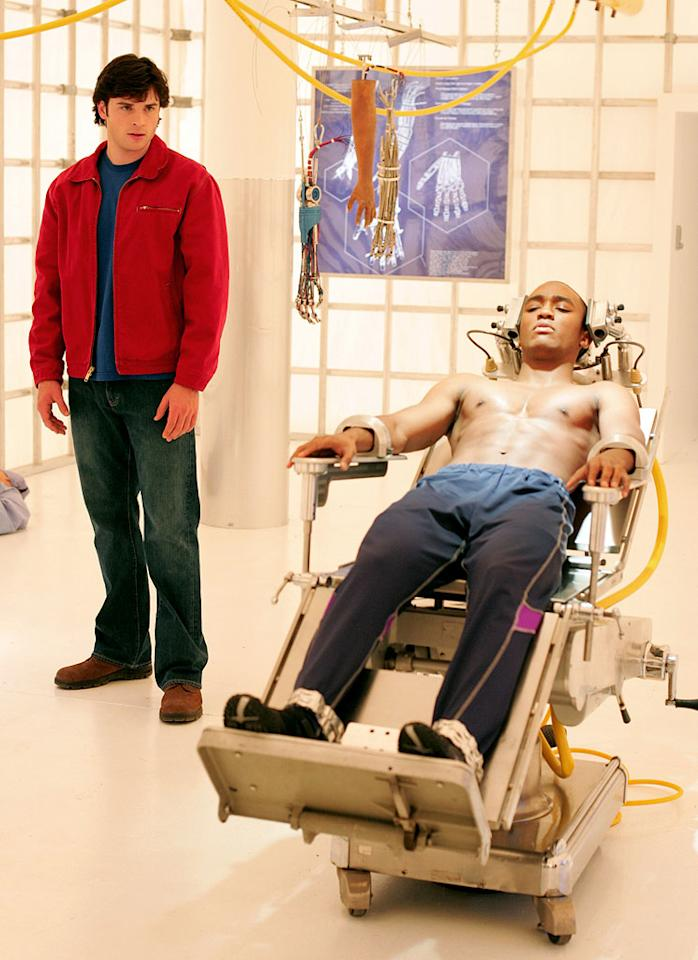 "<a href=""/tom-welling/contributor/1074576"">Tom Welling</a> as Clark Kent and <a href=""/lee-young/contributor/1107918"">Lee Thompson Young</a> as Victor Stone/Cyborg in <a href=""/smallville/show/33659"">Smallville</a>, on The CW."