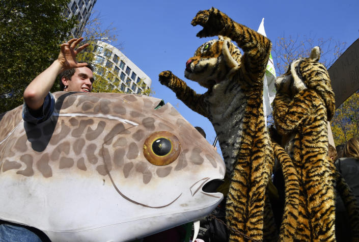 Climate activists wear costumes as they participate in a climate march in Brussels, Sunday, Oct. 10, 2021. Some 80 organizations are joining in a climate march through Brussels to demand change and push politicians to effective action in Glasgow later this month.(AP Photo/Geert Vanden Wijngaert)