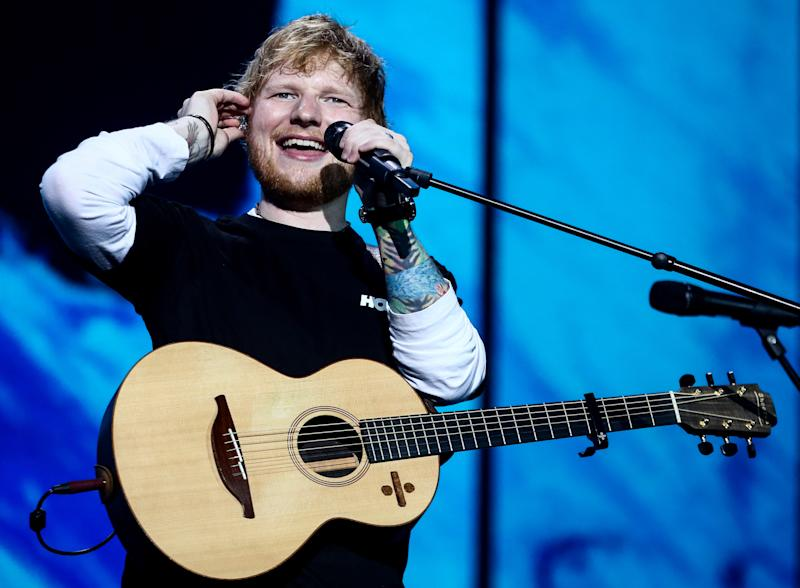 MOSCOW, RUSSIA - JULY 19, 2019: British singer-songwriter Ed Sheeran is giving a concert at Otkritie Arena during his world tour. Sergei Bobylev/TASS (Photo by Sergei Bobylev\TASS via Getty Images)