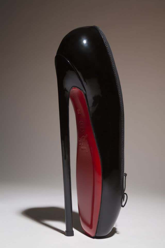 "In this undated photo provided by the Fashion Institute of Technology shows Christian Louboutin's ""Fetish Ballerine"" pump. The shoe is on display at the ""Shoe Obsession"" exhibit at The Museum at the Fashion Institute of Technology Museum in New York. The exhibition, showing off 153 specimens, runs through April 13. (AP Photo/Fashion Institute of Technology)"