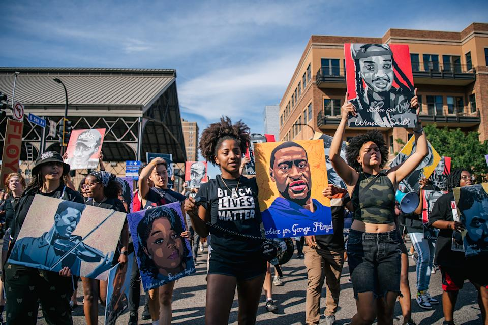 People gathered in downtown Minneapolis to celebrate the sentencing of former Minneapolis police officer Derek Chauvin, while also calling for continual police reform. Chauvin was sentenced to 22.5 years in prison after being convicted of murder in the death of George Floyd. (Brandon Bell/Getty Images)