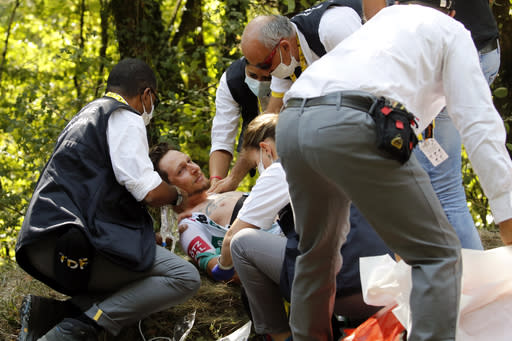 Ouch! Bee sting to the mouth floors Tour de France rider
