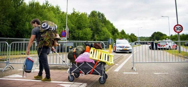 Dutch police cordoned of the area where the hit-and-run took place at the Pinkpop festival