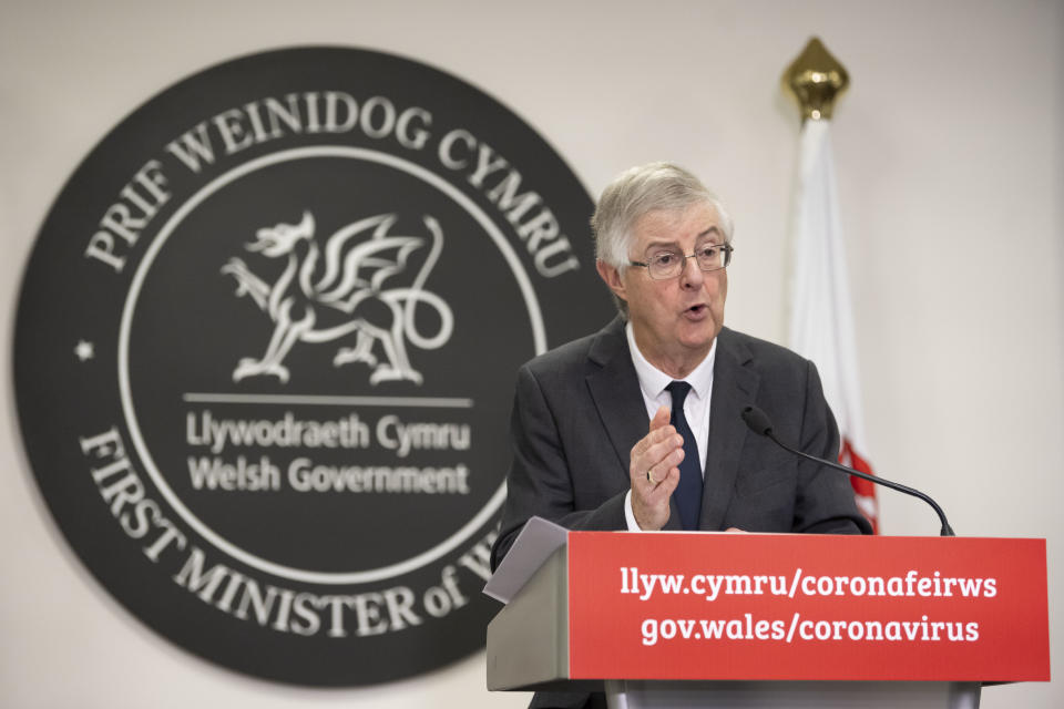 CARDIFF, WALES - OCTOBER 19: First Minister of Wales Mark Drakeford speaks during a press conference after the Welsh cabinet announced that Wales will go into national lockdown from Friday until 9 November, at the Welsh Government building in Cathays Park on October 19, 2020 in Cardiff, Wales. Cases of Covid-19 continue to rise in Wales even in areas that are already subject to restrictions. (Photo by Matthew Horwood/Getty Images)