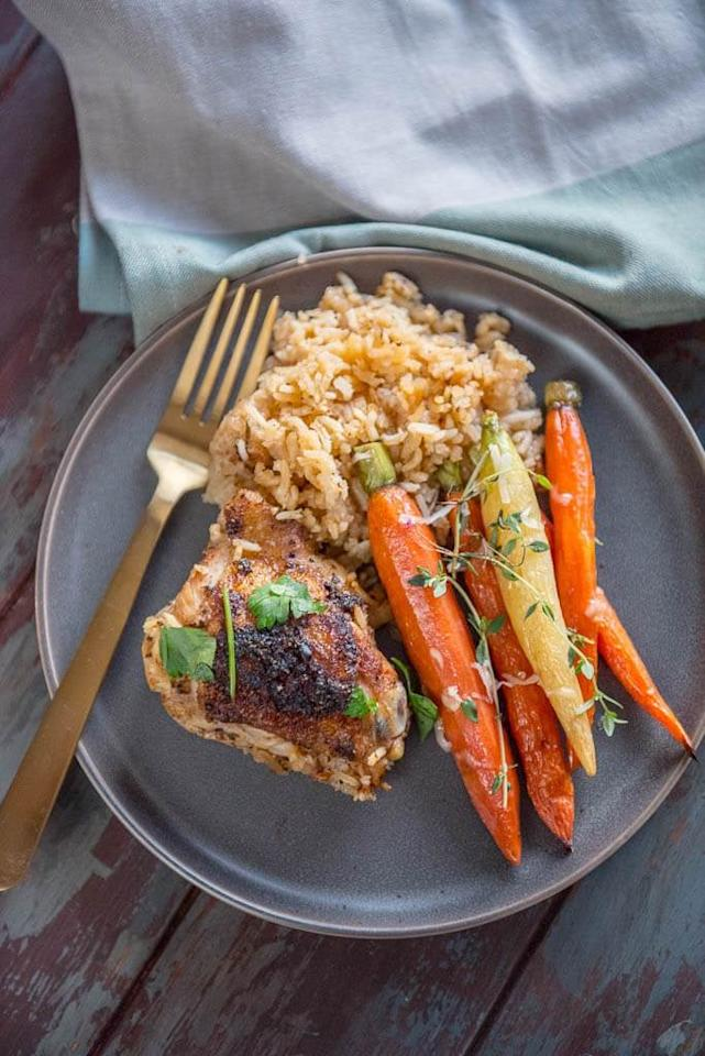 "<p>How mouthwatering does this <a href=""http://slowcookergourmet.net/slow-cooker-baked-chicken-thighs-rice/"" target=""_blank"" class=""ga-track"" data-ga-category=""Related"" data-ga-label=""http://slowcookergourmet.net/slow-cooker-baked-chicken-thighs-rice/"" data-ga-action=""In-Line Links"">baked chicken thighs with rice recipe</a> look? The chicken thighs come out superjuicy!</p>"