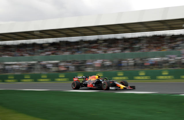 Red Bull driver Pierre Gasly of France steers his car during the first free practice at the Silverstone racetrack, in Silverstone, England, Friday, July 12, 2019. The British Formula One Grand Prix will be held on Sunday. (AP Photo/Luca Bruno)