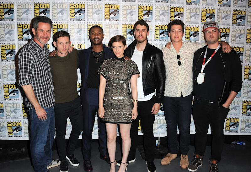 SAN DIEGO, CA - JULY 11: (L-R) Writer/producer Simon Kinberg, actors Jamie Bell, Michael B. Jordan, Kate Mara, Toby Kebbell, and Miles Teller, and director Josh Trank of 'Fantastic Four' pose at the 20th Century FOX panel during Comic-Con International 2015 at the San Diego Convention Center on July 11, 2015 in San Diego, California. (Photo by Albert L. Ortega/Getty Images)