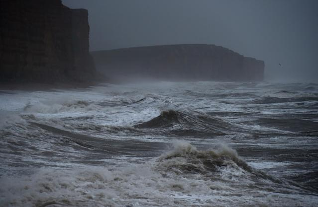The sea at East Cliff in West Bay in Dorset as Storm Brendan hit Britain (Getty)