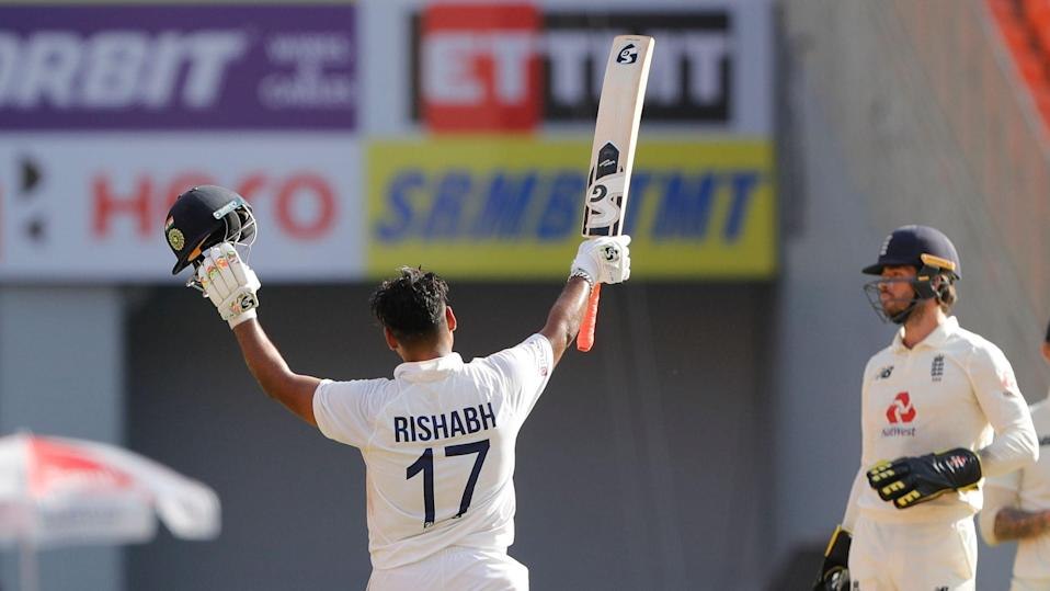 Rishabh Pant celebrates his century on Day 2 of the 4th Test against England.