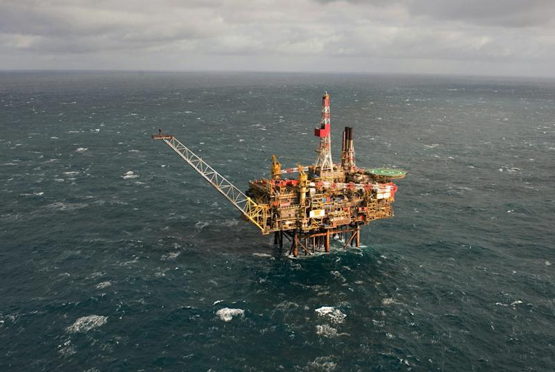 Undated aerial image released by Royal Dutch Shell PLC Friday Aug. 19, 2011 of the Gannet Alpha platform in the North Sea, around 110 miles (180 kilometers) east of Aberdeen, Scotland.  Royal Dutch Shell PLC said an operation is under way to stop the leak at its Gannet Alpha platform following the worst North Sea oil spill in more than a decade. About 1,300 barrels of oil has spewed into the sea since a pipeline at Shell's Gannet Alpha platform was found to be leaking Aug. 12, the company said, though it claims that after shutting the well, only one barrel a day is leaking from the installation to control the build up of pressure in the pipeline.    (AP Photo/Ken Taylor/Shell/PA Wire) EDITORIAL USE ONLY, NO SALES